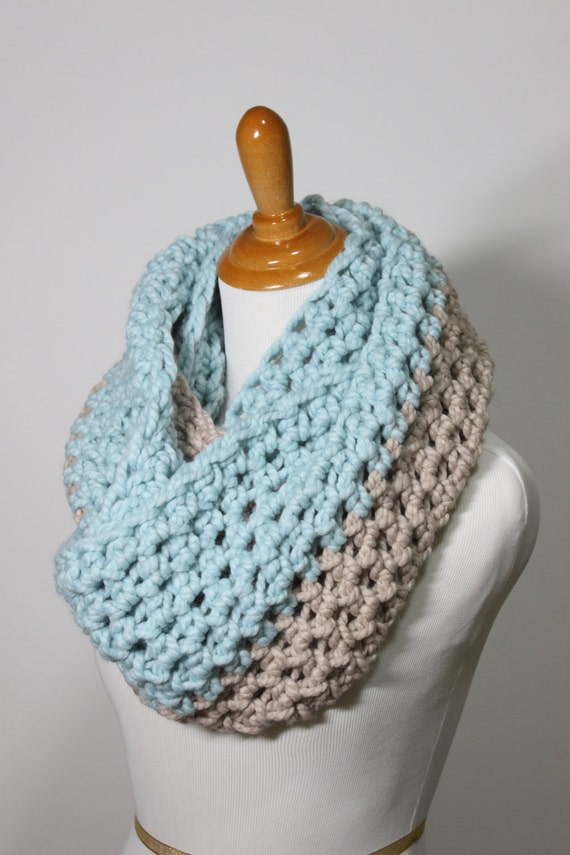 Infinity Scarf, Chunky Scarf, Crochet Snood, Two-toned Scarf, Custom Scarf, Two Colored Scarf