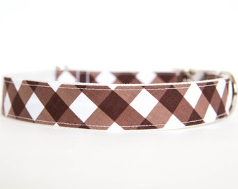 Gingham Dog Collar in Brown
