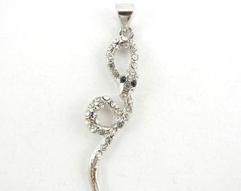 Thin Silver-tone Rhinestone Snake Pendant