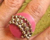 SALE silver studded pink vintage button ring