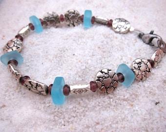 Pewter Turquoise Beach Glass Bracelet