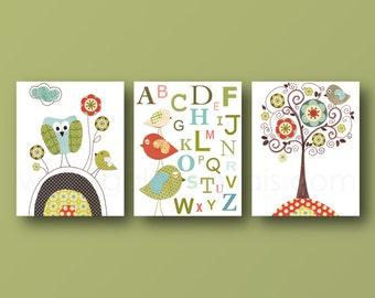 Neutral colors Nursery art print baby nursery room decor Kids art Tree owl bird Set of three prints Artwork