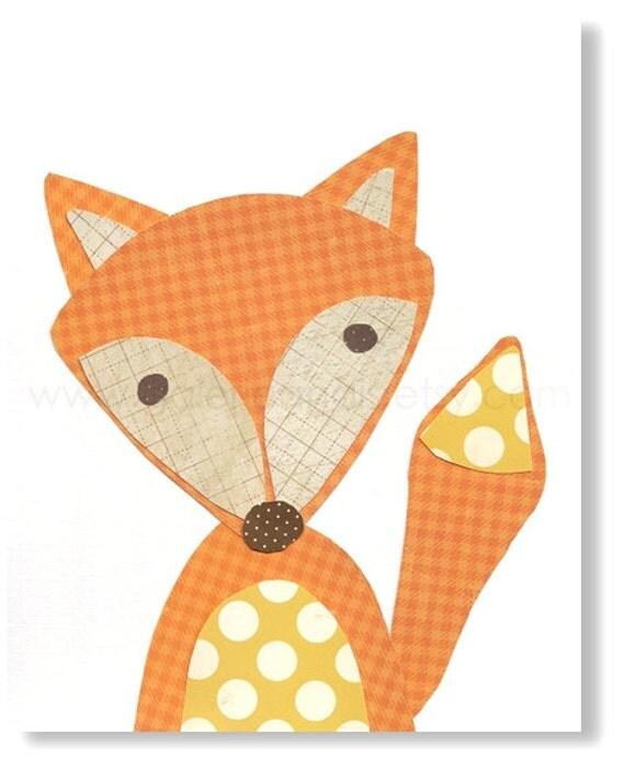 Kids wall art - Kids Room Decor - kids room decor - nursery fox - woodland - kids fox - forest - Le Renard print from Paris