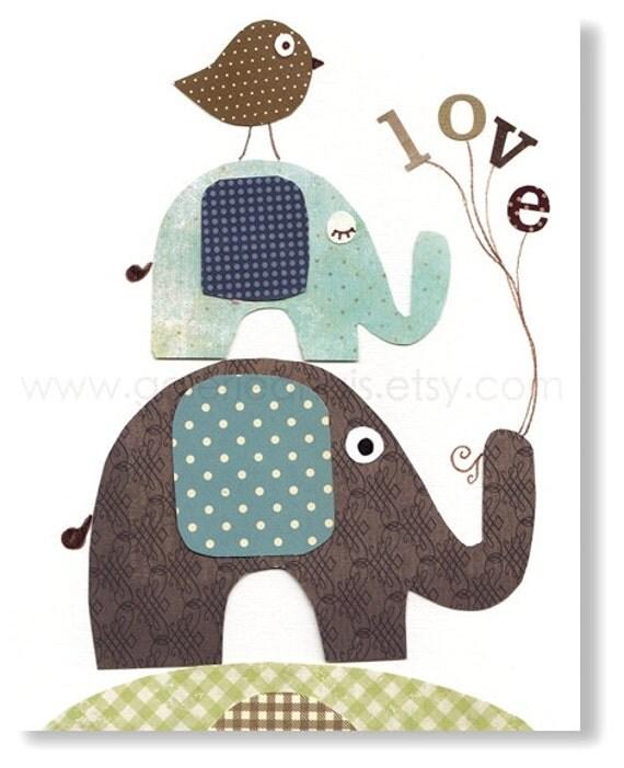 children's art - baby nursery decor - nursery wall art - nursery elephant - bird - words - love - Love Is In The Air print