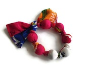 RESERVED FOR CHRISTGALLI Scarf  Bead Bangle Repurposed Silk Scarf by handcraftusa