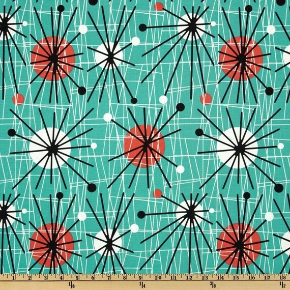 Michael Miller Retro Fabric 1 Yard Atomic Mid Century Modern