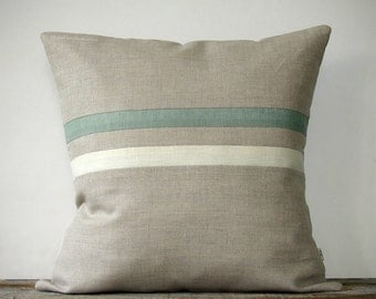 Sage and Cream Striped Pillow (16x16) Cottage Home Decor by JillianReneDecor | Hemlock