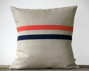 Coral and Navy Striped Linen Pillow Cover 16x16 - Colorful Home Decor by JillianReneDecor (READY TO SHIP)