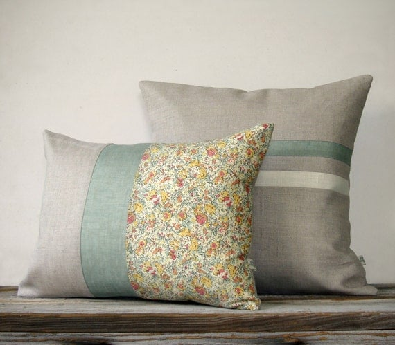 Decorative Pillow Set Sage And Cream Striped By