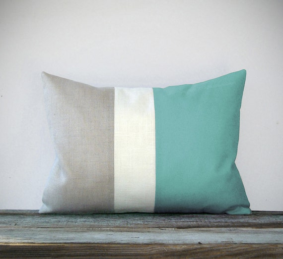 Mint Color Block Decorative Pillow with Cream and Natural Linen Stripes by JillianReneDecor Modern Home Decor Colorblock - Decorative Pillow