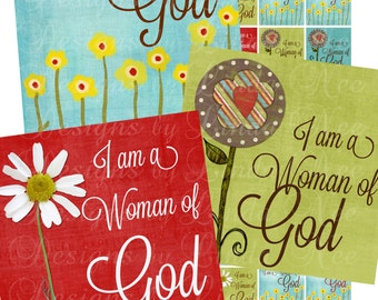 Instant Download - NEW ~ CHRISTian Woman of God (1 x 1 inch) Images Digital Collage Sheet  printable stickers card ephemera gift tag