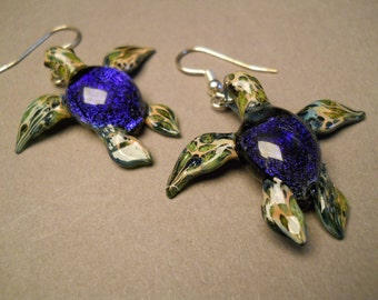 Blue/Purple Sea Turtle Earrings  Blown glass seaturtle jewelry
