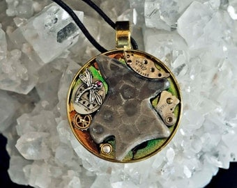 Genuine Michigan Petoskey stone dragonfly art pendant necklace with vintage watch parts one of a kind steampunk style