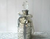Mercury glass upcycled bottle decanter chandelier prism stopper White decor Shabby Swedish pale grey M1