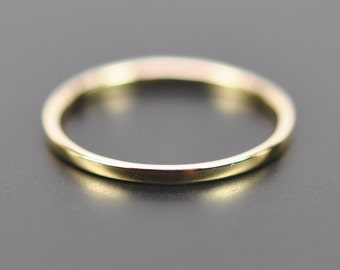 18K Yellow Gold Skinny 1mm Wedding Band or Fashion Ring, SeaBabeJewelry