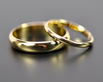 18K Yellow Gold Classic Wedding Band Set, His and Hers Rings, 2mm and 4mm Half Round Rings, Recycled Gold, Sea Babe Jewelry