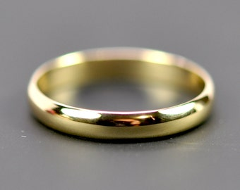 Yellow Gold Ring, 18K Yellow Gold 3x1mm Half Round Classic Style, Recycled Gold Ring, Sea Babe Jewelry