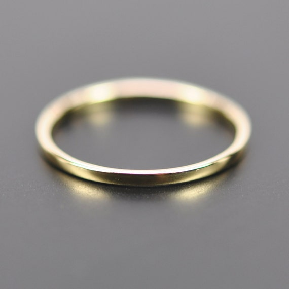 18k yellow gold skinny 1mm wedding band or fashion ring sizes