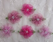 6pc Glass Beaded Pink Organza Fabric Flower Applique Baby Doll Christening Bridal Corsage