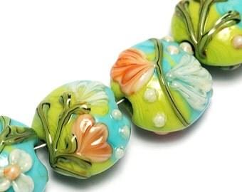 Glass Lampwork Bead Set - Seven White w/Orange Flora Lentil Beads 10504302