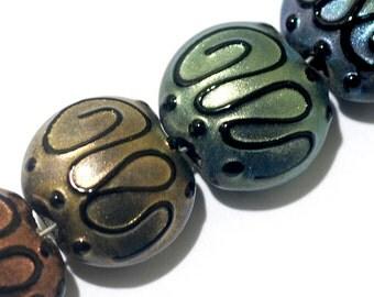 Seven Different Color Pearl Surface Lentil Beads - Lampwork Glass Bead Set 11204902