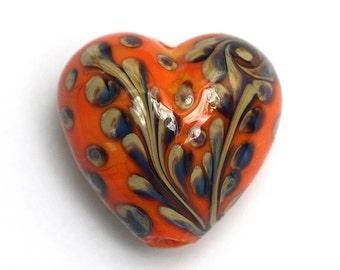 Handmade Glass Lampwork Bead 11811705 - Heart Focal Bead - Coral w/Beige