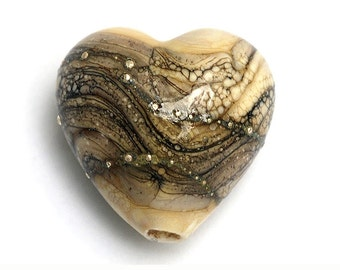 Dark Ivory w/Silver Heart - 11810905 Handmade Glass Lampwork Bead