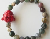 SALE- Laughing Buddha Bracelet in Fancy Jasper