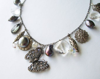 Shades of Grey Vintage Butterfly Charm Necklace