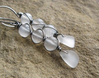 Wire Wrapped White Seaglass and Moonstone Earring - The Cortez Collection