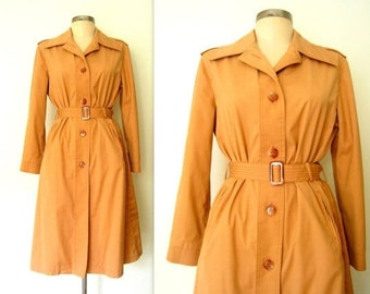 1970s Trench Coat / 70s Trench Jacket / Belted Trench Coat / Pale Clay
