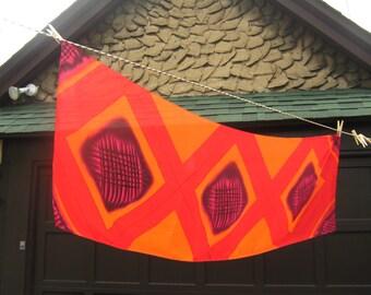 Large Silk Shawl Scarf Wrap Rectangular Magnificent Long Geometric Vintage 70's