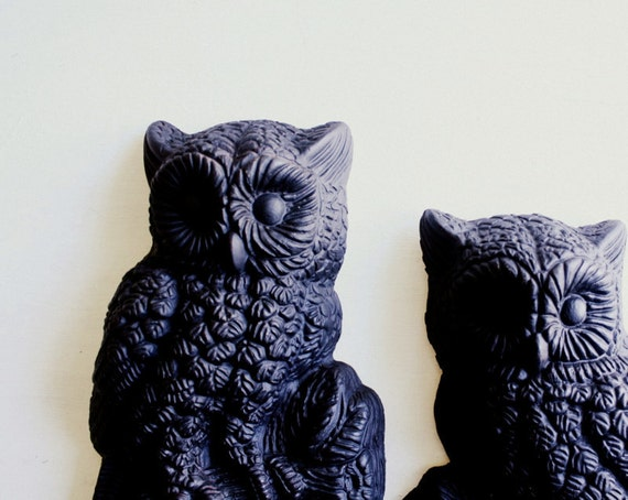 RESERVED FOR TRICIA Vintage Black Midcentury Modern Owls for Halloween