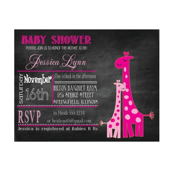 Printable Baby Shower Invitation Giraffe Chalkboard