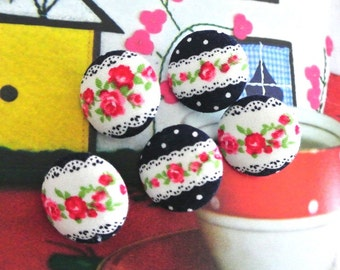 """Fabric Buttons, Small Retro Dark Blue Red White Floral Rose Flower Fabric Covered Button, Retro Floral Fridge Magnets, Flat Backs, 0.8 """" 5's"""