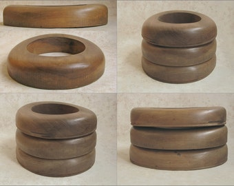 1920s Scarce Matched Set 3 Sizes OPEN ROLL TURBAN Wood Hat Brim Block Flange Form Tools
