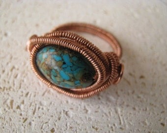 Copper Ring, Mosaic Turquoise and Copper Ring, Blue Magnesite Ring, Turquoise Magnesite, Coil Wrapped, Wire Wrapped Ring