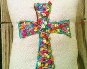 Made To Order Bohemian Hand Embroidered Cross Pillow Any Color