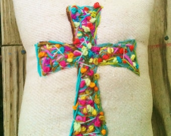 Made To Order Bohemian Hand Embroidered Cross Pillow Any Color YelliKelli