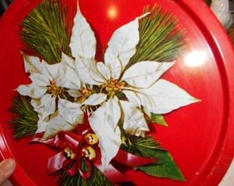 Vintage Round Metal Christmas Serving Tray White Poinsettias Flowers