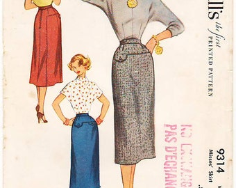 Vintage Pattern McCall's 9314 Misses' Skirt 50s Size Waist 26
