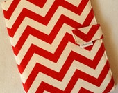 Legal Pad Fabric Notebook Organizer with Pockets, Pad, and Pen, Red Chevron