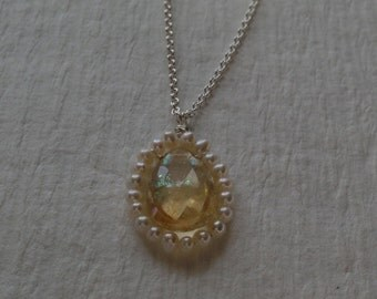 Pearl surrounded citrine drop necklace - jewelry by jackie