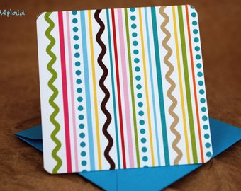 Blank Mini Card Set of 10, Summer Doodle Stripe with Contrasting Pattern on the Inside, Bright Aqua Envelopes, mad4plaid