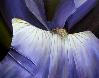 Iris 3D Painting - Macro View of Purple Flower Constructed in Fabric & String - Made to Order