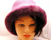 Berry Colored Warm Wool Hat with Rolled Brim