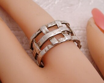 Vintage Sterling Woven Ring B4