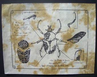 Steampunk Clockwork Beetle Schematic Screen Print Poster
