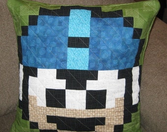 Megaman Extra Life Quilted Pillow Cover - Free USA Shipping