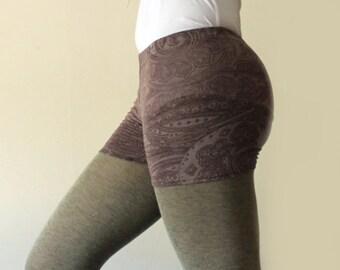 Basic shorts, grey purple henna print  -  available in sizes XS, S, M, L, XL and custom sizes - kezbirdie